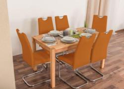 Wooden Nature Esstisch-Set 151 inkl. 6 Stühle (orange), Buche Massivholz - 135 x 75 (L x B)