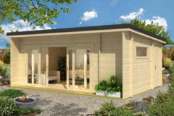 Gartenhaus G25 inkl. Fußboden - 44 mm Blockbohlenhaus, Grundfläche: 23,70 m², Pultdach
