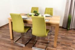 Wooden Nature Esstisch-Set 410 inkl. 4 Stühle (grün), Eiche massiv - 160 x 90 (L x B)