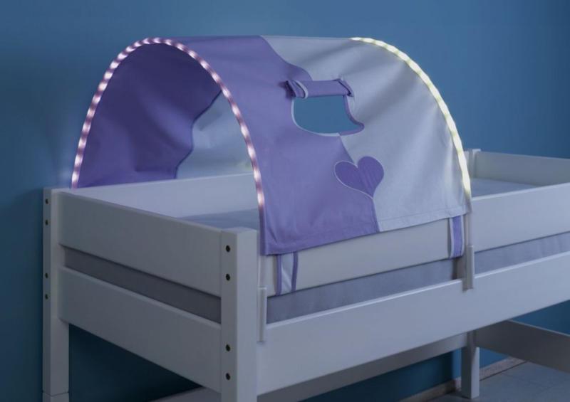 1 er Tunnel mit LED für Hoch- und Etagenbetten - Farbe: Purple-Weiß-Herz