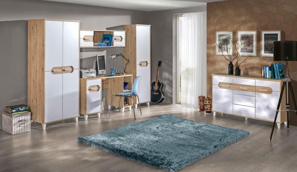 Wohnzimmer Komplett Set C Bengasi 5 Teilig Farbe Eiche
