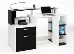 Schreibtisch Kasungu 07, Farbe: Weiß / Schwarz - Abmessungen: 91 x 140 x 55 cm (H x B x T)