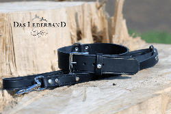 Das Lederband Hundehalsband Weinheim Schwarz Breite 30 mm / Länge 52 cm