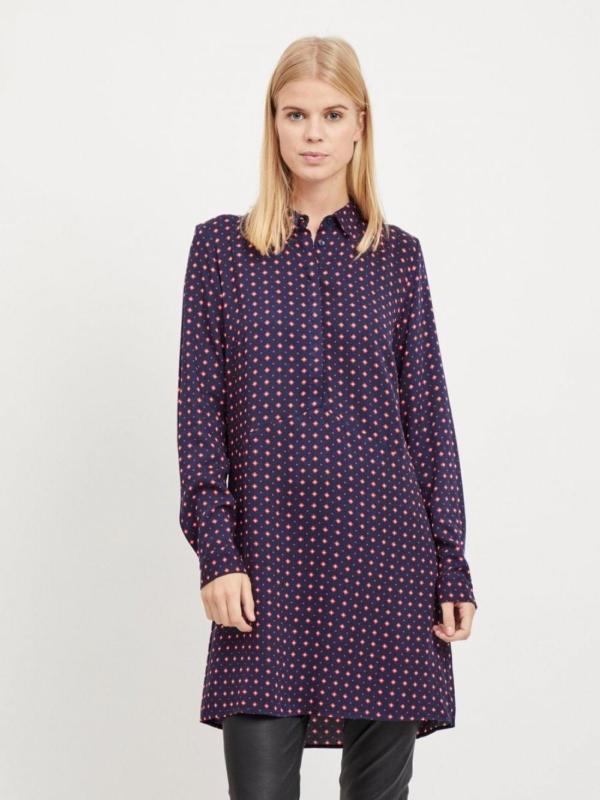 Vila Gepunktetes Kleid mit langen Ärmeln