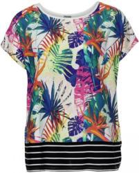 Damen-T-Shirt mit gestreiftem Saum, große Größen
