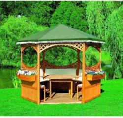 Promadino Pavillon Palma, mit grünem Foliendach, Set komplett