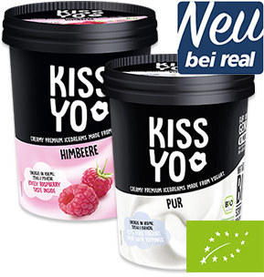 KISS YO Bio Joghurteis versch. Sorten, jeder 500-ml-Becher
