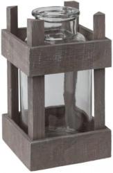 Vase aus Glas und Holz, ca. 12x12x20cm