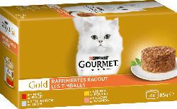 GOURMET Nassfutter für Katzen, Gold Raffiniertes Ragout mit Huhn, Multipack