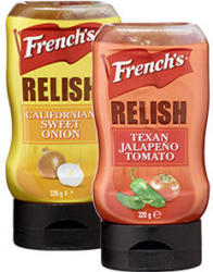 Frenchs Relish Sweet Onion oder Jalapeno Tomato, jede 320-g-Flasche