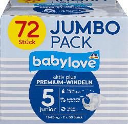 babylove Windeln Premium aktiv plus Größe 5, junior 12-25kg, Jumbo Pack, 2x36 Stück