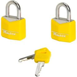Masterlock Vorhängeschloß Kofferschloss 3mm Bügel 2er Pack, Gelb