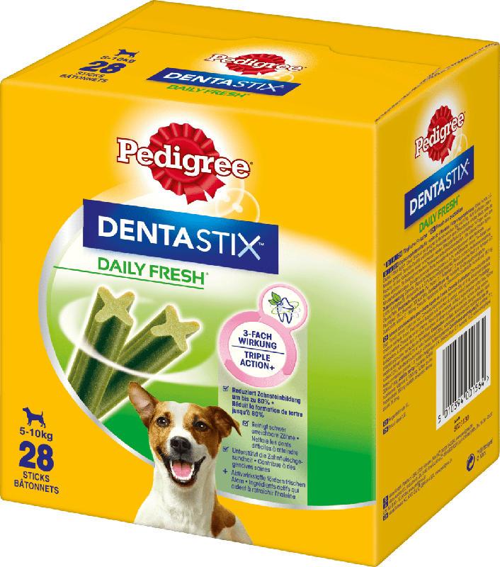 Pedigree Snack für Hunde, Zahnpflege DentaStix Tägliche Frische, für kleine Hunde, Multipack 4x7 Stück