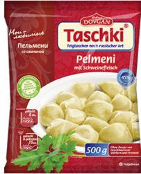 Dovgan Pelmeni mit Schweine-, oder Puten-Hackfleisch oder Mini Pelmeni mit Rind- und Schweinefleisch gefroren, jeder 450/500-g-Beutel