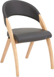 Stuhl In Holz, Leder Eichefarben, Dunkelgrau