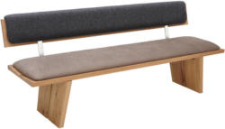 Sitzbank 200/83/64 cm in Anthrazit, Eichefarben, Edelstahlfarben, Fango