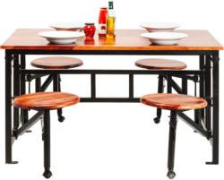 Tischgruppe in Holz, Metall Braun, Schwarz