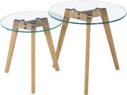 Beistelltischset in Holz, Glas 50/40/50/40/45/40 cm