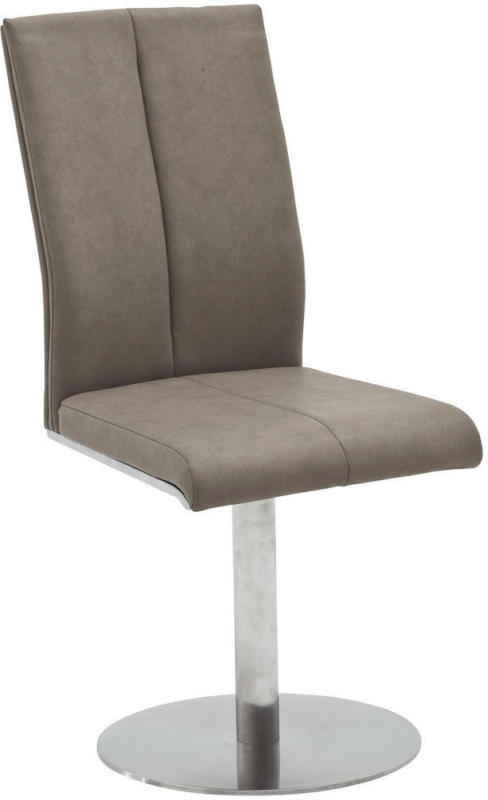 Stuhl in Metall, Textil Taupe, Edelstahlfarben