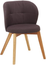 Stuhl in Holz, Textil Braun, Eichefarben