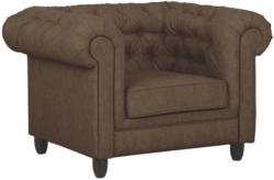 Chesterfield-Sessel in Textil Dunkelbraun
