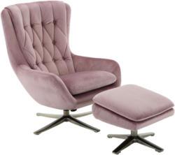 Relaxsesselset In Textil Nickelfarben, Altrosa