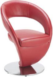 Stuhl In Metall, Leder Rot, Edelstahlfarben