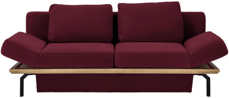 Schlafsofa in Holz, Leder Rot