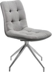 Stuhl in Metall, Textil Grau, Edelstahlfarben, Hellgrau