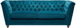 Chesterfield-Sofa in Textil Türkis, Eichefarben