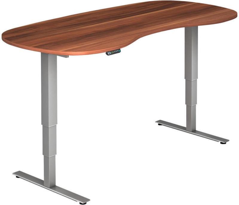 Schreibtisch in Silberfarben, Zwetschgefarben
