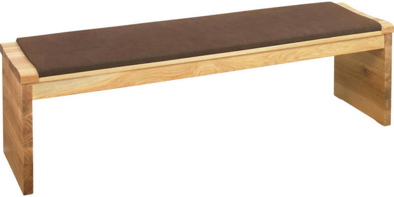 Sitzbank in Holz, Textil Braun, Eichefarben