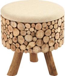 Hocker in Holz, Textil Braun