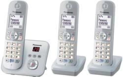 Panasonic KX-TG6823GS Schnurlostelefon mit Anrufbeantworter und 3 Mobilteilen