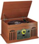 Expert Haghofer Classic Phono TCD2600WD Kompakt-Anlage im Holzkoffer, mit Plattenspieler,  CD, Kassettenspieler, Radio, Bluetooth & USB