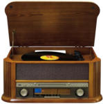 Expert Schmied & Fellmann Classic Phono TCD2550 Kompakt-Anlage in Holzkofferoptik, mit Kassetten- & Plattenspieler, CD, Radio, USB-Direktaufnahme