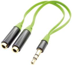 ready2music Audio Splitter Kabel, 16 cm green opt. um 2 Kopfhörer an 1 Soundquelle anzuschließen