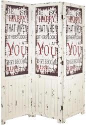 Paravent Jasmin B: 120 cm Schrift Weiß