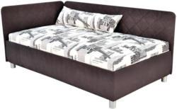 Polsterbett mit Bettkasten 110x200 Sorbona Grau/Gemustert