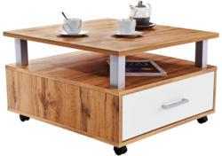 Couchtisch Holz mit Lade+ Ablagefach Duo, Eichendekor