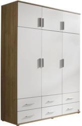 Drehtürenschrank mit Schubladen 136cm Kemi, Weiß/ Eiche Dekor