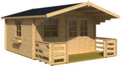 Gartenhaus mit Terasse und Zaun Natur 360x245x360cm