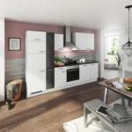 Möbelix Einbauküche Küchenblock Möbelix Turin 310 cm Alpinweiß/Schiefer Grau
