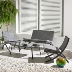 Loungegarnitur Luan in grau inkl. Tisch