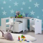 mömax Kindersitzgruppe mit Stauraum in Weiß 'Melly'