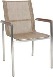 Stapelsessel In Holz, Metall, Textil Braun, Silberfarben