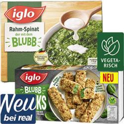iglo Rahm-Spinat-Minis oder Blubb Sticks gefroren, jede 800/284-g-Packung und weitere Sorten