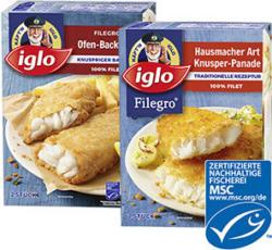 iglo Filegro Ofen-Backfisch  gefroren, jede 240-g-Packung und weitere Sorten
