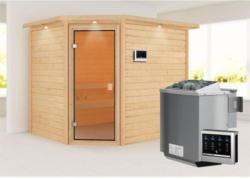 Karibu Sauna Lisa, mit bronzierter Tür und Kranz, naturbelassen, Bio externe Steuerung