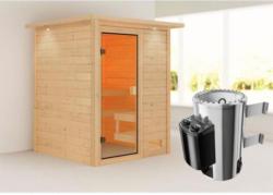 Karibu Sauna Sandra, 3,6 kW, mit Kranz, naturbelassen, integrierte Steuerung